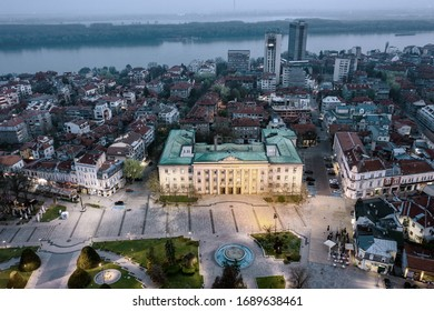 Ruse, Bulgaria - March 27, 2020: The beauty of empty city. Aerial view.