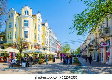 RUSE, BULGARIA, MARCH 5, 2015: people are walking on the street leading to the main square of bulgarian city ruse.
