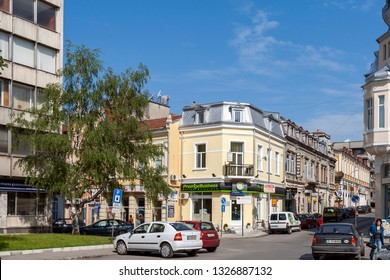 RUSE, BULGARIA - MAY 1, 2008: Building and street at the center of city of Ruse, Bulgaria