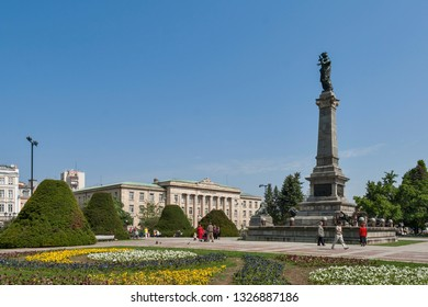 RUSE, BULGARIA - MAY 1, 2008: Monument of Freedom at the center of city of Ruse, Bulgaria