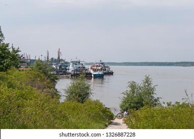 RUSE, BULGARIA - MAY 1, 2008: The Danube River passing through the city of Ruse, Bulgaria