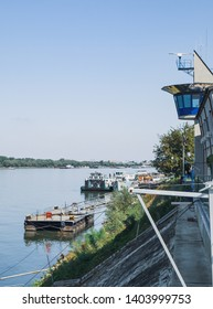 Ruse, Bulgaria - September 10, 2017: View of a border guard facilities on the shore of Danube River in Ruse, Bulgaria. Bulgaria - Romania border