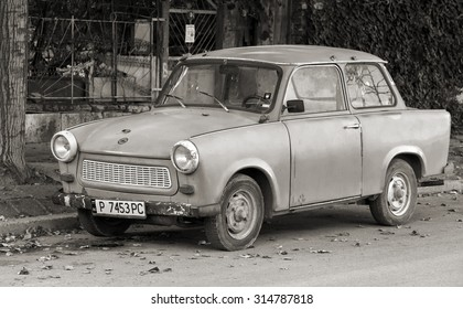 Ruse, Bulgaria - September 29, 2014: Old Trabant 601s car stands parked on a street side. It was the most common vehicle in East Germany with inefficient two-stroke engine