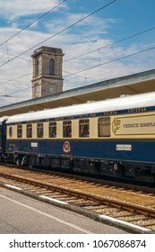 Ruse city, Bulgaria - August 29, 2017. The legendary Venice Simplon Orient Express is ready to depart from Ruse Railway station. The luxury train travels between Paris and Istanbul.