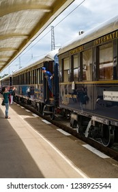 Ruse city, Bulgaria - August 29, 2017. The legendary Venice Simplon Orient Express is ready to depart from Ruse Railway station. Chief wagon. The luxury train travels between Paris and Istanbul.