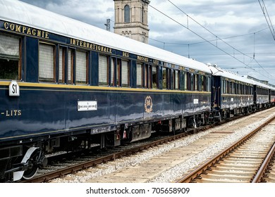 Ruse city, Bulgaria - August 29, 2017. The legendary Venice Simplon Orient Express is ready to depart from Ruse Railway station. Sleeper. The luxury train travels between Paris and Istanbul.