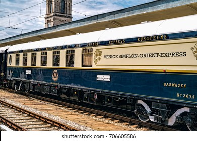 Ruse city, Bulgaria - August 29, 2017. The legendary Venice Simplon Orient Express is ready to depart from Ruse Railway station. Bar car. The luxury train travels between Paris and Istanbul.