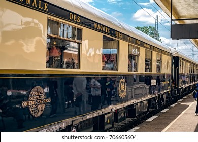 Ruse city, Bulgaria - August 29, 2017. The legendary Venice Simplon Orient Express is ready to depart from Ruse Railway station. In the station. The luxury train travels between Paris and Istanbul.