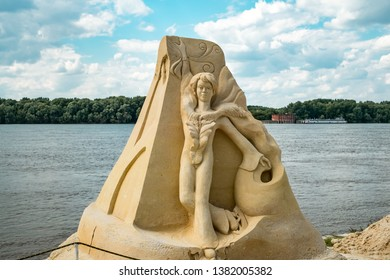 """Ruse city, Bulgaria - June 08, 2016. International Sand Sculpting Festival situated on the bank of the Danube river in Ruse, Bulgaria; """"Sports Fame, World and Olympic Symbols"""" theme"""