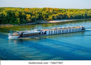 Ruse city port, Bulgaria - September 18, 2017. Danube cruise ship.