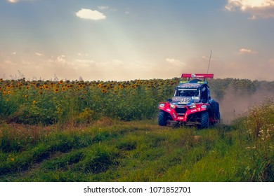 Ruse district, Bulgaria - July 21, 2017. Ivanovo village area, Ruse region, Bulgaria, rally car in action