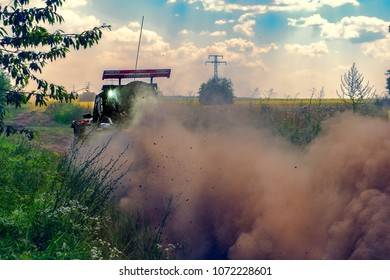 Ruse district, Bulgaria - July 21, 2017. Ivanovo village area, Ruse region, Bulgaria, Buggy in action