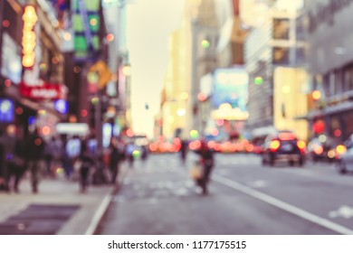 Rush hour with defocused yellow taxi cabs and traffic jam on 5th avenue in Manhattan downtown in vintage style