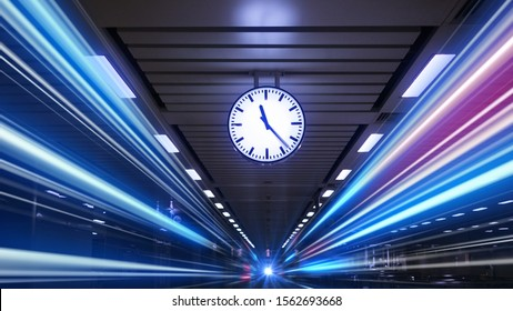 Rush hour Fast moving  evening ,Fast moving traffic drives   time lapse clock moving fast light each subway lane effect line light cg