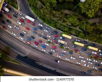 Rush hour traffic jam aerial drone shot