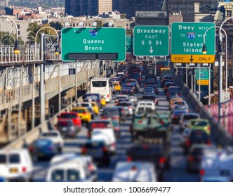 Rush hour traffic jam on the Williamsburg Bridge in Brooklyn, New York City blurred background
