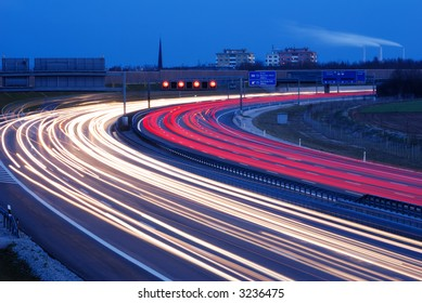 rush hour traffic on german autobahn in munich
