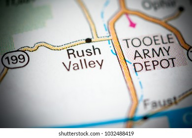 Rush Valley. Utah. USA on a map.