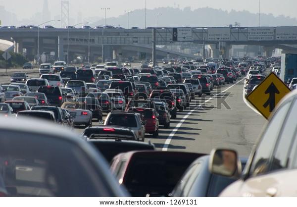 Rush-hour traffic approaching the Oakland-San Francisco Bay Bridge.