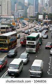 Rush-hour traffic in downtown Hong Kong