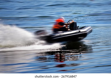 Rushing motor boat during the race