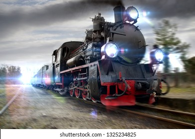 A rushing steam locomotive. Moved picture of retro train in move.
