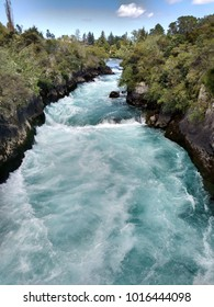 The rushing stream of Huka Falls, close to Lake Taupo, New Zealand