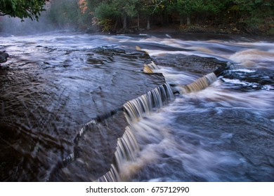 The Rushing Water Of The Sturgeon River In Michigan's Upper Peninsula, Michigan, USA