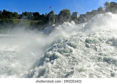 The rushing waters at the Rhine Falls in the Alps, Laufen-Uhwiesen near Schaffhausen, Switzerland