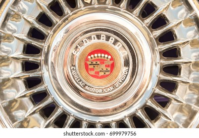 RUSHMOOR, UK - MARCH 25: Hubcap wheel trim close-up on a vintage American Cadillac Eldorado automobile in Rushmoor, UK on March 25, 2016