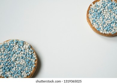 rusk with blue aniseed balls, muisjes. tradition in the Netherlands to celebrate the birth of a son
