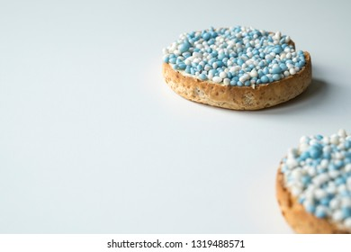 rusk with blue aniseed balls, muisjes. tradition in the Netherlands to celebrate the birth of a son.