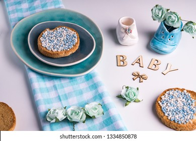 rusk with blue aniseed balls, muisjes, tradition in the Netherlands to celebrate the birth of a son
