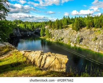 RUSKEALA, REPUBLIC OF KARELIA, RUSSIA - Karelia Ruskeala mountain river landscape