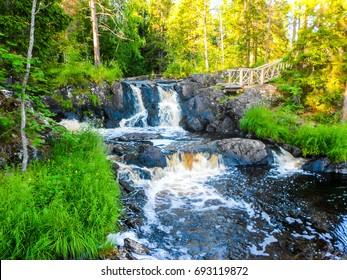 RUSKEALA, REPUBLIC OF KARELIA, RUSSIA - Karelia Ruskeala mountain river waterfall landscape