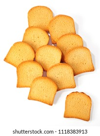 lot of rusks isolated over white background