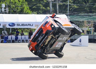 Russ Swift performing stunts show in Subaru cars during the Subaru Russ Swift Stunt Show 2018 on Nov 17, 2018 in Chiang Mai,Thailand