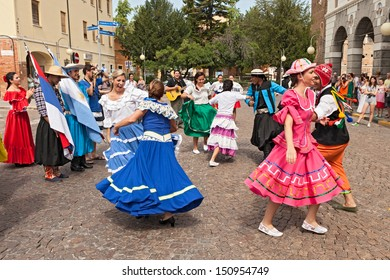 RUSSI, RA, ITALY - AUGUST 4: folk ensemble Raices Nuevas from El Alcazar, Misiones, Argentina performs traditional dance at the International Folklore Festival on August 4, 2013 in Russi, RA, Italy