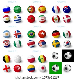 Russia 2018 groups ,  group A, B, C, D, E, F, G and H. Soccer balls with 32 country flags isolated on white background.