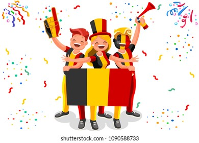 Russia 2018 world cup, Belgium football fans. Cheerful soccer fans, supporters crowd and Belgian flag. Belgium national day. Isometric people, illustration, sports images. Isolated background.