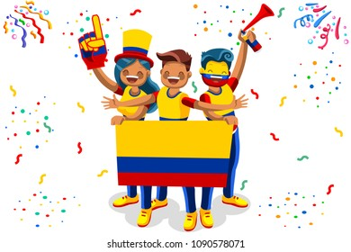Russia 2018 world cup, Colombia football fans. Cheerful soccer fans, supporters crowd and Colombian flag. Colombia national day. Isometric people, illustration, sports images. White background.