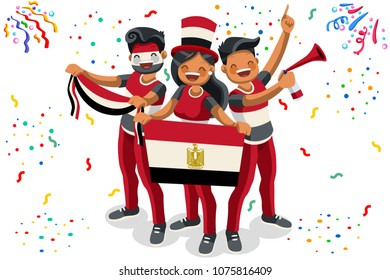 Russia 2018 world cup, Egypt football supporters. Cheerful soccer supporters crowd and Egyptian flag. Flat Isometric people celebrating Egypt national day.  Illustration for hero images, banner.