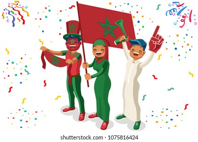 Russia 2018 world cup, Moroccan football supporters. Cheerful soccer supporters crowd Morocco flag. Flat Isometric people celebrating Moroccan national day. Illustration hero images, web banner