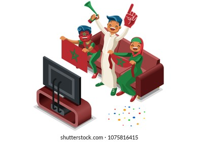 Russia 2018 world cup, Morocco football supporters. Cheerful soccer supporters crowd and Moroccan flag. Flat Isometric people celebrating Morocco national day. Illustration hero images, web banner.