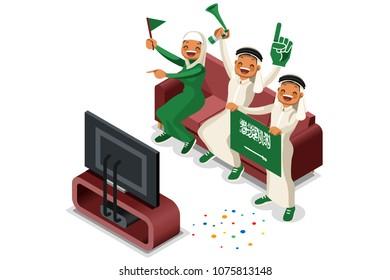 Russia 2018 world cup, Saudi Arabia football supporters. Cheerful soccer supporters crowd and Saudi Arabian flag. Flat isometric people celebrating Saudi Arabia national day. Illustration image