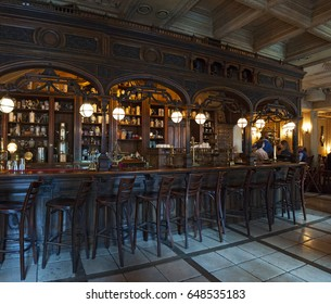 Russia, 27/04/2017: the counter and the Pharmacy Hall of Cafe Pushkin, a famous restaurant and bar opened in 1999 inside a 19th-century Baroque mansion on Tverskoy Boulevard, in the center of Moscow