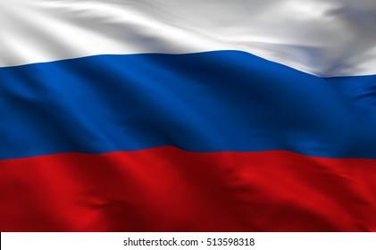 Russia 3D Flag, Russian Banner (3D Render)