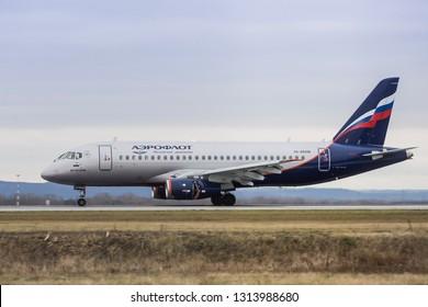 Russia, airport Ufa, Aeroflot airlines, Sukhoi Superjet 100, 2018.11.06