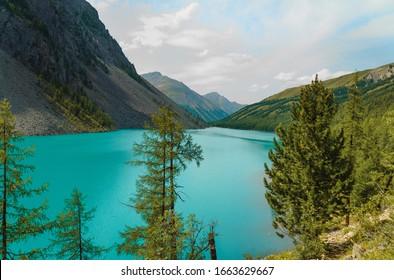 Russia. Altai. Mountain lake and mountains