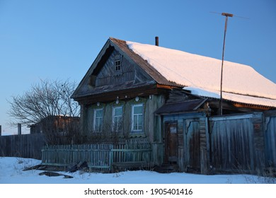 Russia, Altay - FEB 06, 2020: of the villages wood handmade historical house life